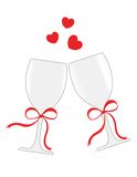 Wine glasses. Vector illustration of glasses with champagne with red hearts isolated on white background Royalty Free Stock Images