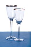 Wine glasses. Two empty wine glasses on table with white background Stock Photography