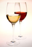 Wine glasses. Two wine glasses, red and white wine Stock Photos