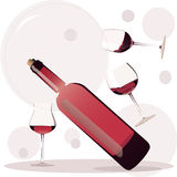 Wine glasses. Red wine glasses vector illustration Stock Photography