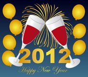 Wine glasses. On fireworks with balloons, 2012 new year. vector stock illustration