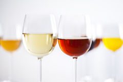 Wine glasses. Set of wine glasses with blur background Stock Photography