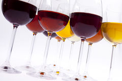 Wine glasses. Set of wine glasses viewed from below Royalty Free Stock Photography