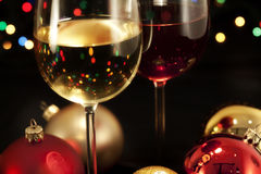 Wine glasses. With christmas decoration Royalty Free Stock Images