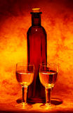 Wine Glasses. And a Bottle Royalty Free Stock Photo