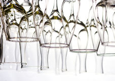 Wine glasses. Lots of wine glasses on the white Royalty Free Stock Photo
