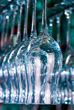 Wine glasses. Lots of wine glasses on the white Royalty Free Stock Images