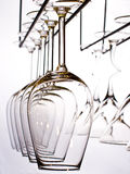 Wine glasses. Lots of wine glasses on the white Stock Images