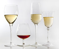 Wine glasses. Various glasses with wine and brandy Royalty Free Stock Image
