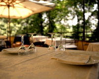 Wine Glasses. Table setting in Italy Stock Image