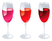 Wine Glasses. With red wine (editable Stock Image