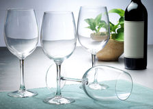 Wine glasses. On table top setting Royalty Free Stock Image