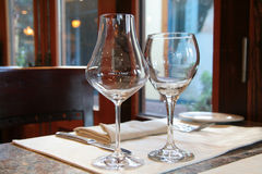 Wine glasses. Table in a restaurant stock photos