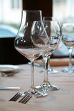 Wine glasses. Table in a restaurant stock images