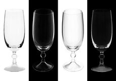 Wine Glasses. On black and white background Royalty Free Stock Photos