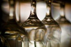 Wine glasses. Empty wine glasses hanging upside down Stock Photo