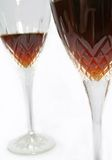 Wine Glasses. Red wine and crystal glasses stock photo