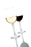Wine Glasses. Two glasses of wine. White and Red. Isolated on white background stock images