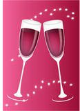 Wine glasses. Two red wine glasses on red background Stock Images