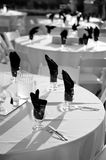 Wine Glasses. On table at outdoor weddding reception Royalty Free Stock Photography