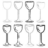Wine Glasses. Illustration of wine glasses in different styles Royalty Free Stock Photography
