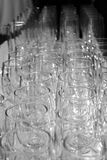 Wine Glasses from Above. Rows of wine glasses from Above black and white Royalty Free Stock Images