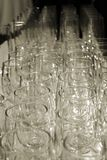 Wine Glasses from Above. Rows of wine glasses from Above sepia shot Stock Photo