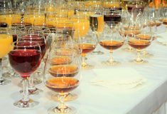 Wine glasses with alcoholic drinks on the table Royalty Free Stock Photography