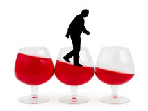 Wine glasses and alcoholic man. Isolated on white background royalty free stock photos
