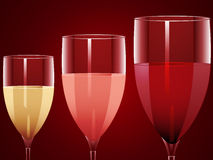 Wine glasses background. Wine glasses filled with red, rose and white wine Royalty Free Stock Image