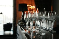 Wine glasses on the bar Royalty Free Stock Image
