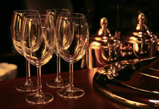Wine glasses on bar counter Royalty Free Stock Image