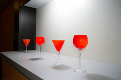 Wine glasses bar design, decoration Royalty Free Stock Image