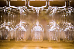 Wine Glasses at a bar Stock Photography