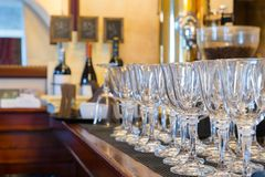 Wine glasses at the bar restaurant interior Stock Image