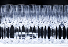 Wine glasses on a black background outdoor. Royalty Free Stock Photo