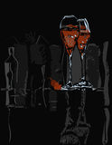 Wine Glasses On Black Stock Photos
