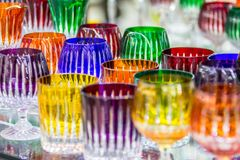 Bohemian crystal glasses. Wine glasses of Bohemian glass in the shop, Prague, Czech Republic stock photos