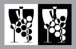 Wine glasses and botlle sign(vector,CMYK) Stock Image