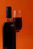 Wine glasses and bottle Stock Image