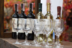 Wine glasses and a bottle Royalty Free Stock Photo