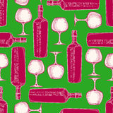 Wine glasses and bottles. Beautiful seamless pattern with hand-drawn glasses and bottles of wine Stock Photo