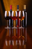 Wine glasses and bottles Stock Photography