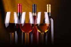 Wine glasses and bottles Royalty Free Stock Image