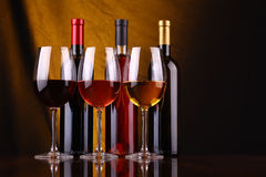 Wine glasses and bottles Royalty Free Stock Photos