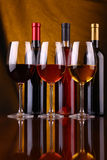 Wine glasses and bottles Royalty Free Stock Photo