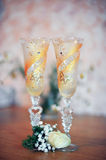 Wine glasses for the bride and groom Royalty Free Stock Images