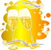 Wine glasses with bubbles Stock Photos