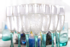 Wine glasses with bubbly drink Royalty Free Stock Images