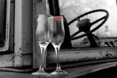 Wine glasses Bulgaria B&W. Wine and glasse over auto- Bulgaria B&W stock image